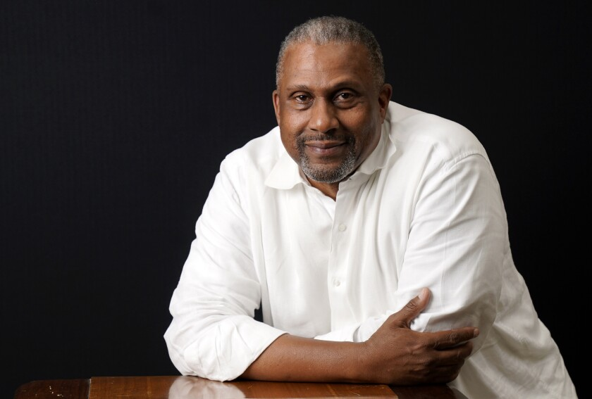 Tavis Smiley, owner of progressive talk radio station KBLA Los Angeles (1580), poses for a portrait, Tuesday, June 15, 2021, in Los Angeles. (AP Photo/Chris Pizzello)