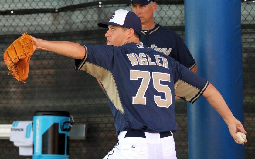 Matt Wisler throws a bullpen at Padres spring training.