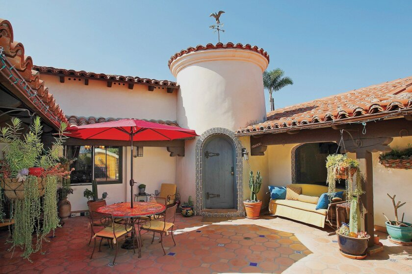 A patio leads to a rotunda at the entrance to the home of Ron and Marianne Bosch in Oceanside.