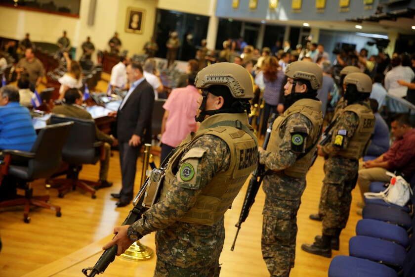 Salvadoran President Nayib Bukele enters Legislative Assembly guarded by military and police