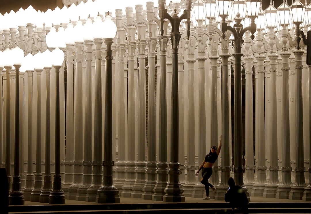 Urban Light sculpture at the Los Angeles County of Museum of Art
