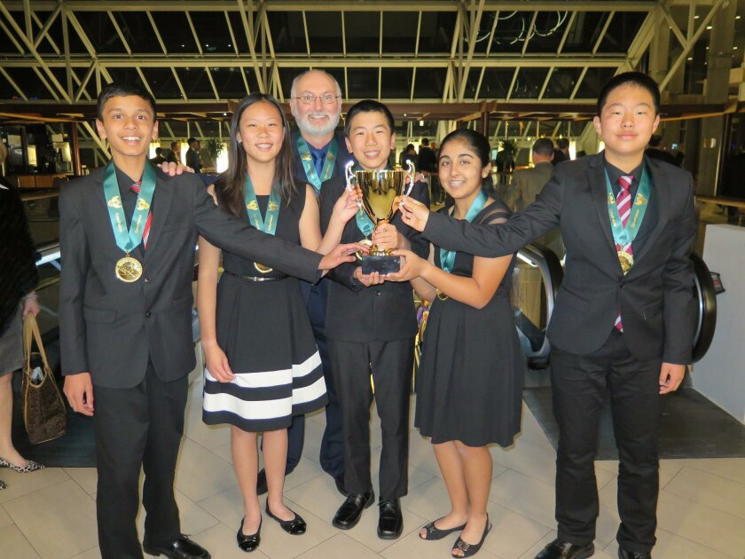 The CyberFalcon Millennium 360 team from Oak Valley Middle School in the Poway Unified School District recently won their division in a national anti-hacking competition. From left: Pranav Patil, Lucy Gao, Paul Johnson, Andrew Wang, Arushi Dogra and Eric Chen.