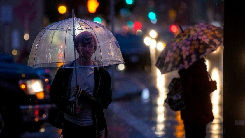 Rain pelts Pasadena on Tuesday evening. The latest in a series of winter storms is expected to bring steady rain to Southern California into Thursday afternoon.