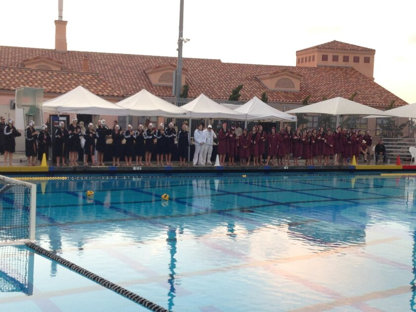 The Bishop's School Knights line up to begin the second half of CIF Open Division Finals against the Cathedral Catholic High Dons, who were leading 4-3 at halftime.