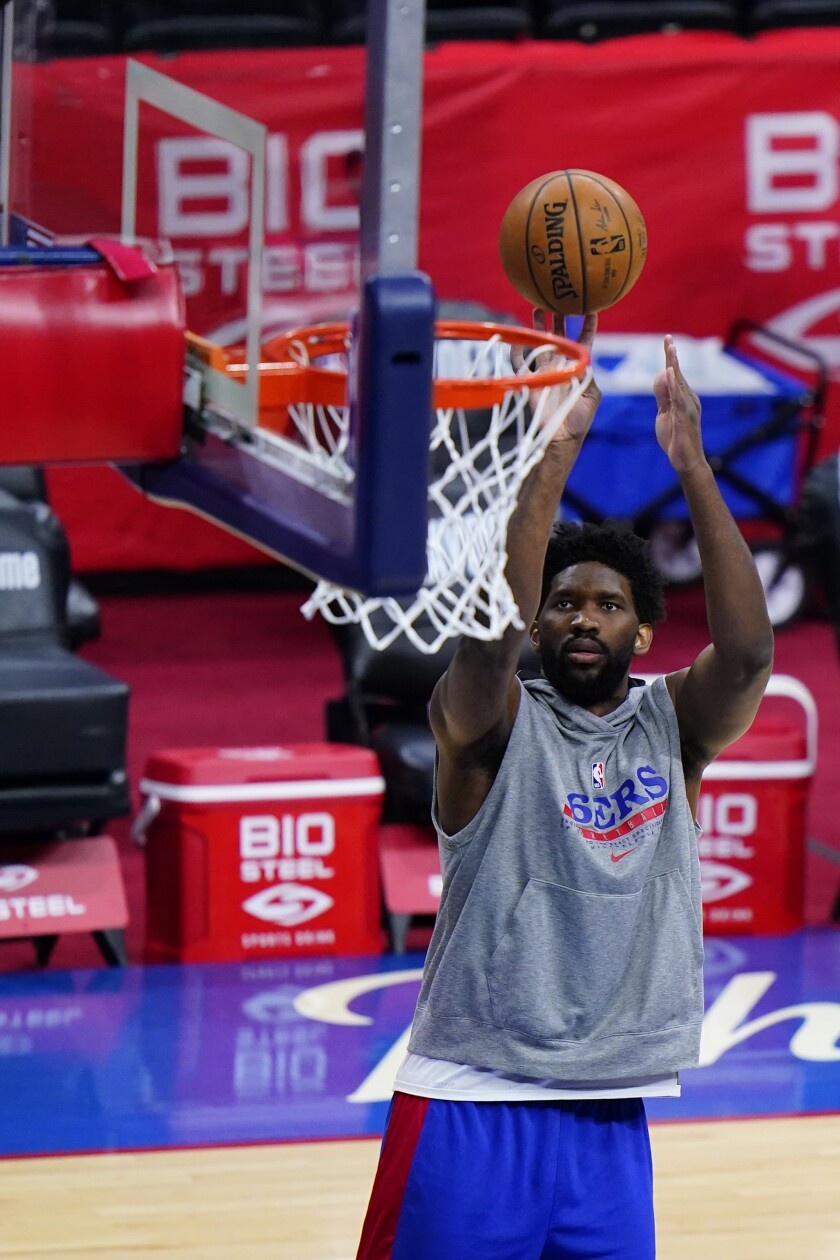 Philadelphia 76ers' Joel Embiid practices before Game 5 in a first-round NBA basketball playoff series against the Washington Wizards, Wednesday, June 2, 2021, in Philadelphia. (AP Photo/Matt Slocum)