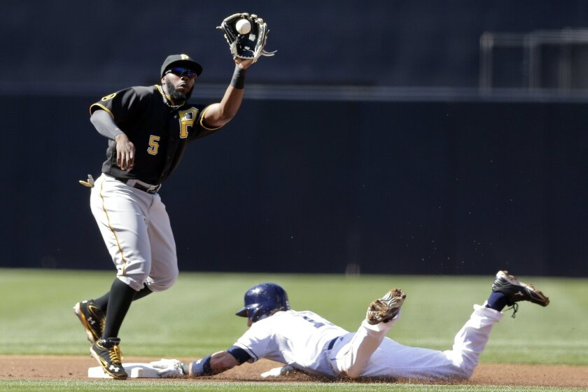 San Diego Padres' Chris Denorfia, below, safely steals second base as Pittsburgh Pirates second baseman Josh Harrison awaits the throw during the first inning of a baseball game Wednesday, June 4, 2014, in San Diego. (AP Photo/Gregory Bull)