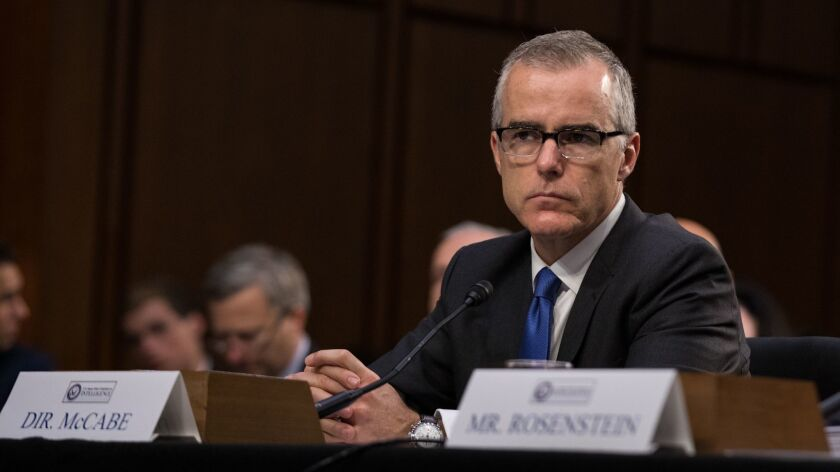 FBI Deputy Director Andrew McCabe testifies in front of the Senate Intelligence Committee in Washington.