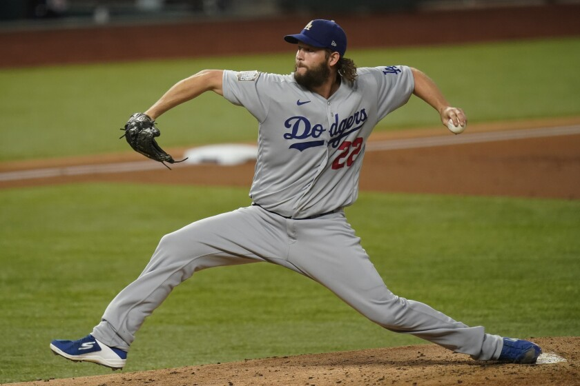 Dodgers starting pitcher Clayton Kershaw throws against the Tampa Bay Rays during the first inning.