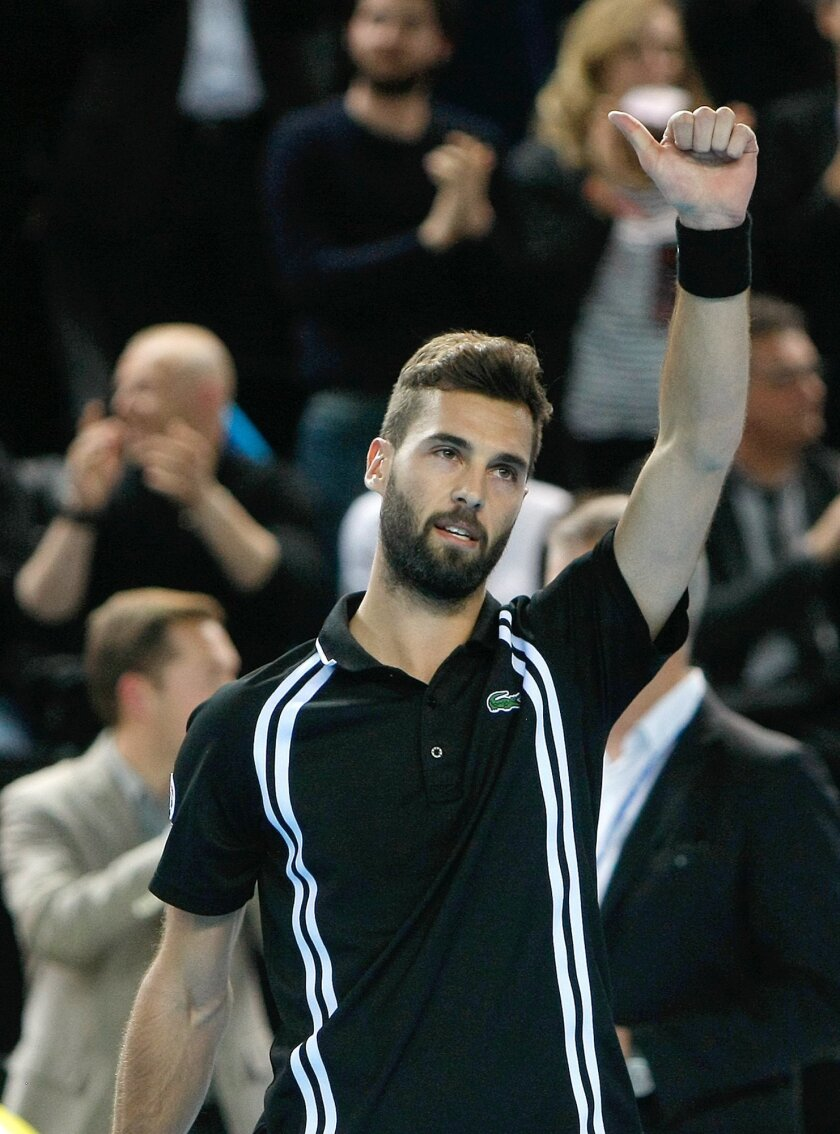 France's Benoit Paire reacts after defeating Stanislas Wawrinka of Switzerland, during their quarter finals match, at the Open 13 Provence tennis tournament, in Marseille, southern France, Friday Feb. 19 , 2016.(AP Photo/Claude Paris)
