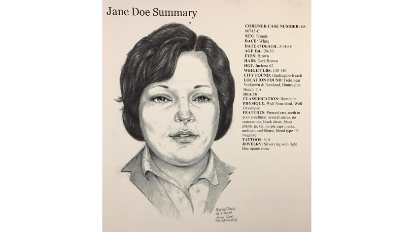 """A police sketch of """"Jane Doe,"""" whose body was found in Huntington Beach in 1968."""