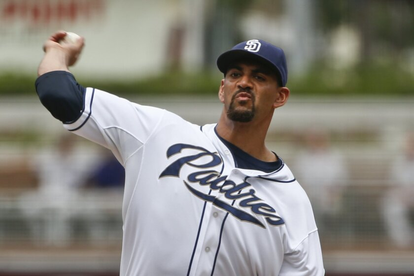 San Diego Padres starting pitcher Tyson Ross works against the Colorado Rockies in the first inning of a baseball game Thursday, Sept. 10, 2015, in San Diego. (AP Photo/Lenny Ignelzi)