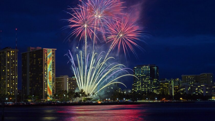 Honolulu 6 Perfect Places To Watch Free Fireworks Over Waikiki Beach Los Angeles Times