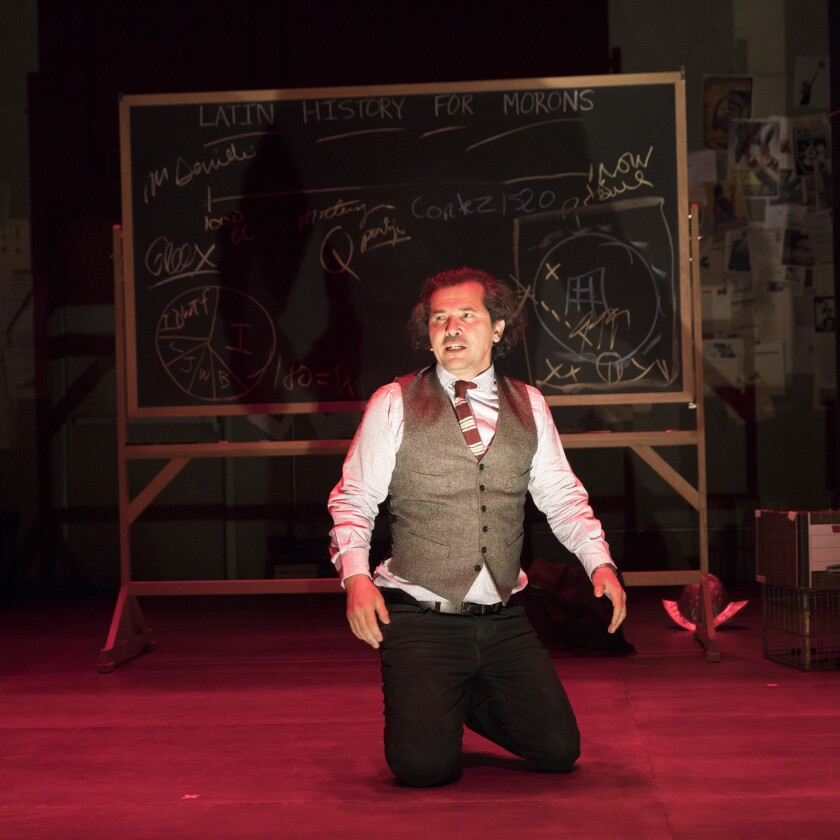 """John Leguizamo in his one-man show, """"Latin History for Morons,"""" at the Public Theater in MArch."""
