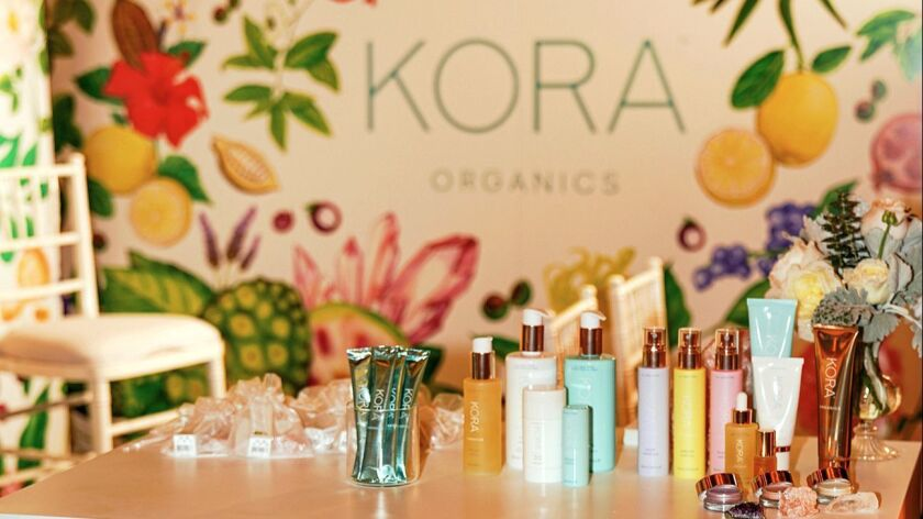 Miranda Kerr's pop-up shop for her skincare brand, Kora Organics at The Grove on November 29, 2018.