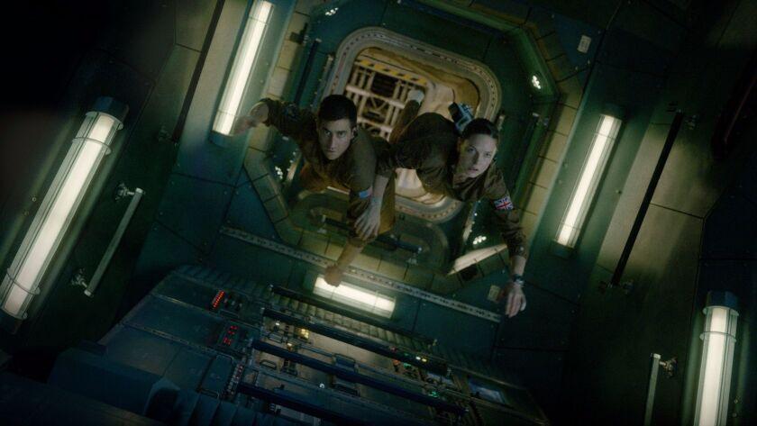 "Jake Gyllenhaal and Rebecca Ferguson in ""Life."""
