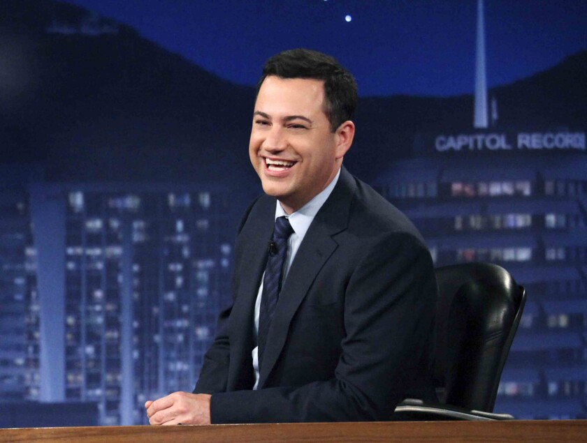 """This July 25, 2012 photo released by ABC shows Jimmy Kimmel hosting his late night show """"Jimmy Kimmel Live,"""" in Los Angeles."""