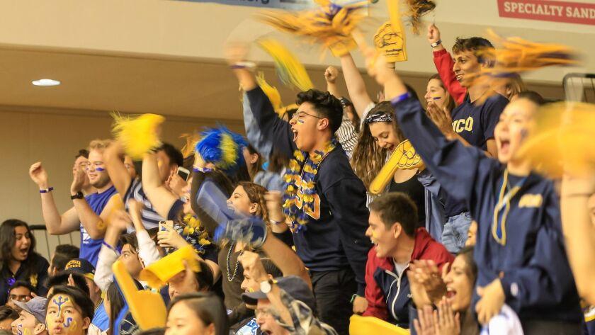 SAN DIEGO, CA February 9th 2018 | Fans cheer the UCSD women's basketball team during their game agai