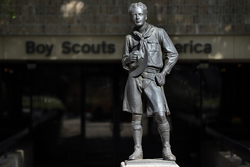The Boy Scouts of America is conducting a survey of attitudes toward its ban on membership for gays. This statue appears outside the group's headquarters in Irving, Texas.