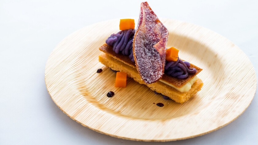 Exotic dishes such as this one, Okinawan sweet potato Mont Blanc, are offered during culinary events at the Hawaii Food & Wine Festival in October.