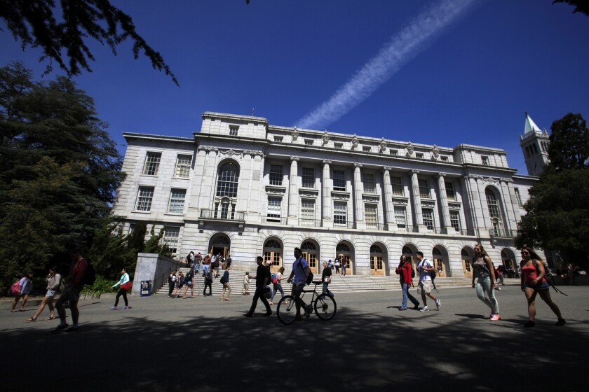 California high school seniors faced a slightly easier time winning a freshman spot at most of the UC campuses for the fall, with 62% of applicants receiving admission offers. UC Berkeley's Wheeler Hall is pictured.