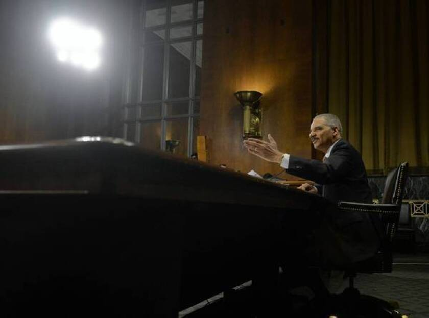 Atty. Gen. Eric H. Holder Jr. assured the Senate Judiciary Committee that although it could hypothetically happen, there was no plan to broaden the drone program to aim at Americans on U.S. soil.