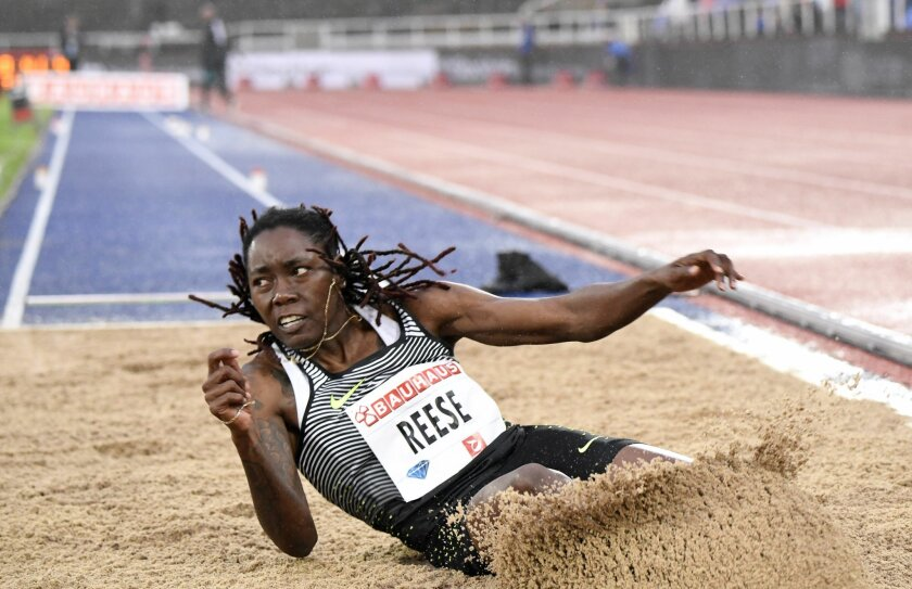 Brittney Reese of the USA competes in the women's long jump during the Bauhaus Gala, part of the 2016 IAAF Diamond League athletics meeting in Stockholm, Sweden, Thursday, June 16, 2016. (Maja Suslin/TT via AP) SWEDEN OUT