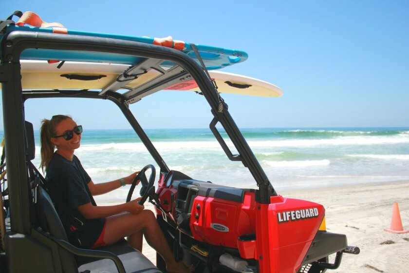 It takes about 25 minutes at 5-10 miles per hour to patrol the three miles of Black's Beach and go back.