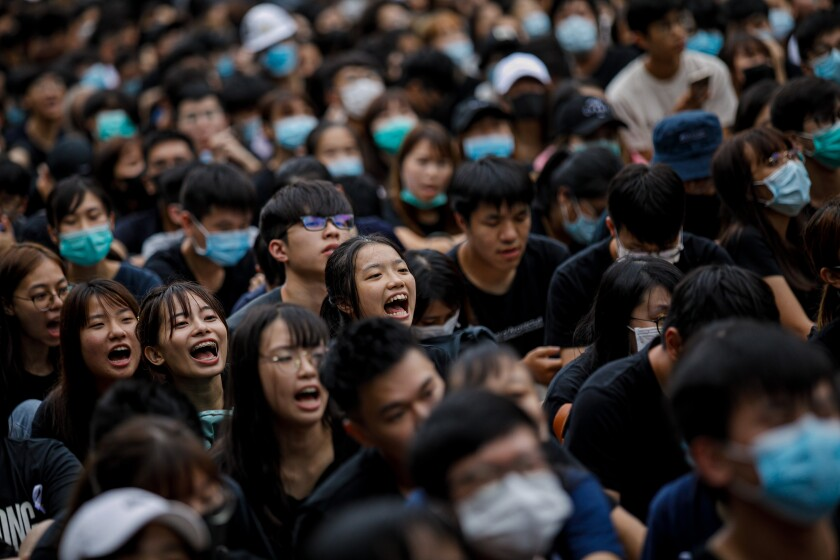 Students protest in Hong Kong.