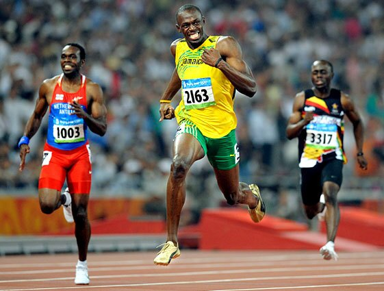 Jamaica's Usain Bolt cruises to the finish line in the 200-meter sprint, winning another gold medal and setting another world record.