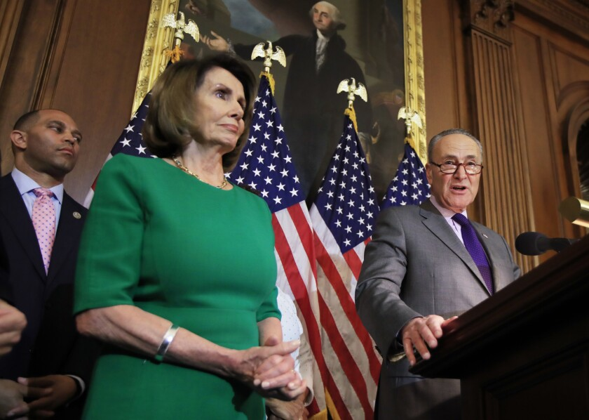 House Minority Leader Nancy Pelosi (D-San Francisco) and Senate Minority Leader Charles E. Schumer (D-N.Y.) on Capitol Hill.