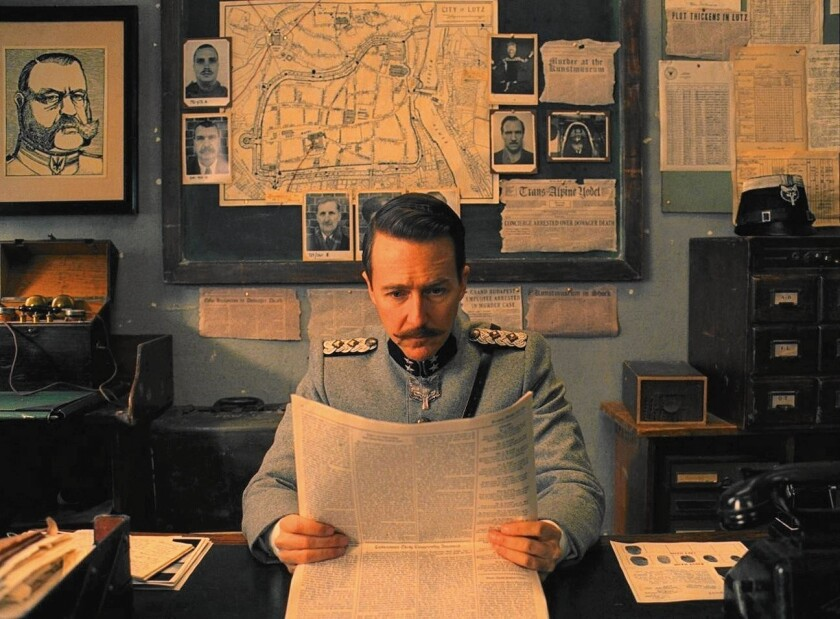 """Edward Norton as Henckles in Fox Searchlight's """"The Grand Budapest Hotel."""""""