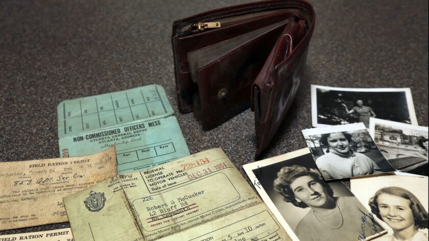 In this August 20, 2018 photo, the lost wallet of Robert McCusker, a war veteran who served in World