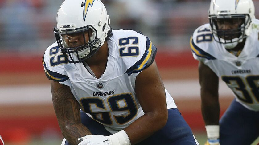 Los Angeles Chargers offensive tackle Sam Tevi (69) against the San Francisco 49ers during an NFL pr