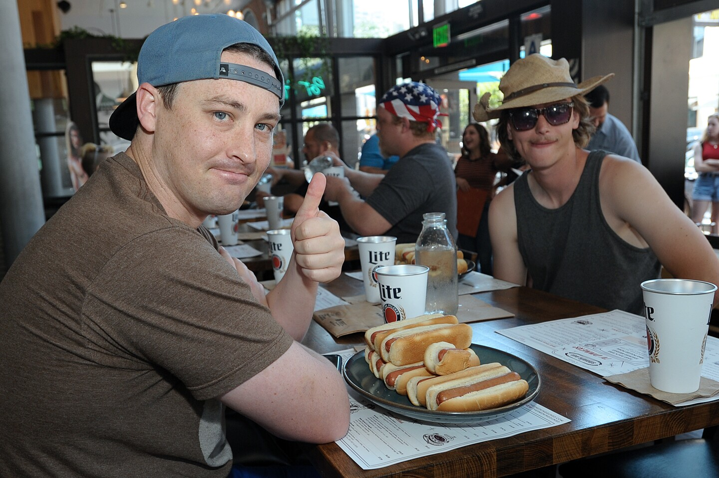 San Diegans celebrated America's birthday in the most American way: with a good old-fashioned hot dog eating contest at The Smoking Gun on Thursday, July 4, 2019.