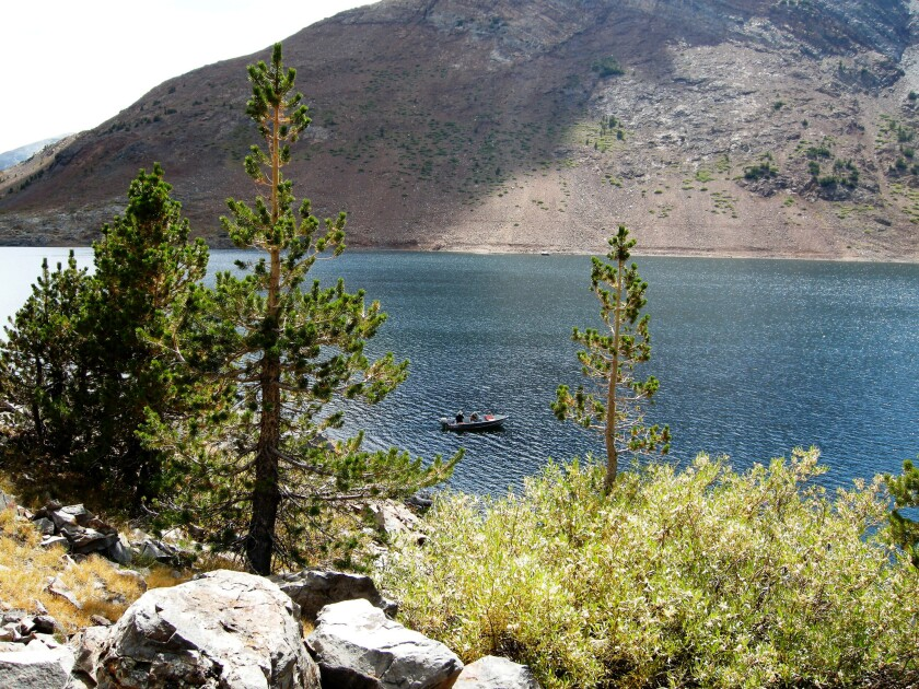 Anglers try their luck on Saddlebag Lake, west of Lee Vining, a California hamlet that's also a prime spot for fishing.