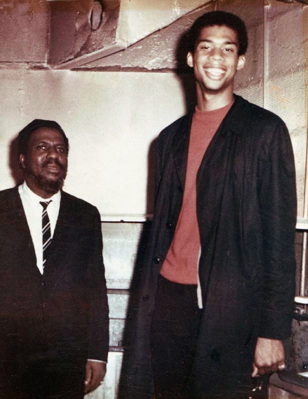 Kareem Abdul-Jabbar, then 19, with jazz legend Thelonious Monk.