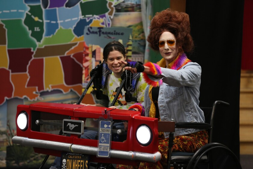 "Paúl Araújo and Cass Pfann in ""Emily Driver's Great Race Through Time and Space."""