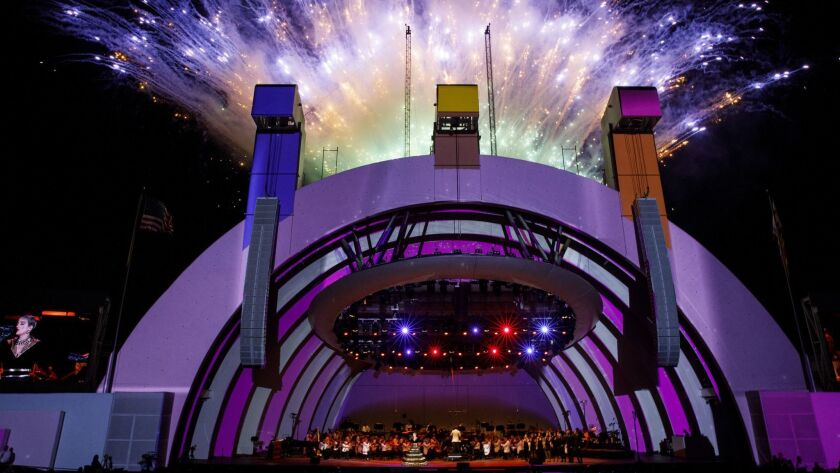 Fireworks light up the night sky as singer Katy Perry performs as Gustavo Dudamel conducts the LA Ph