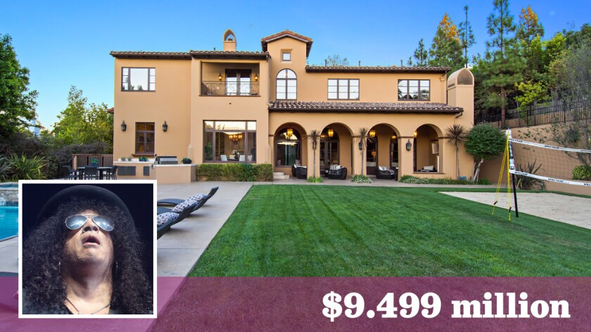 Famed guitarist Slash has relisted his home in gated Mulholland Estates for $9.499 million, down from $10.495 million.
