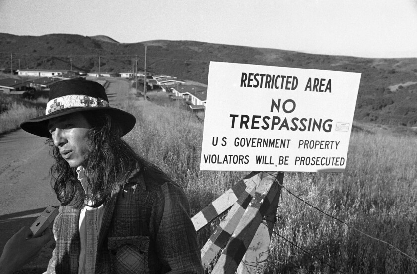 John Trudell, then 25, speaks to reporters about a 1971 Native American occupation of a remote former Nike site near Richmond, Calif.