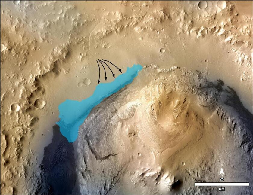 An illustration shows the possible site of an ancient lake at Mars' Gale Crater.