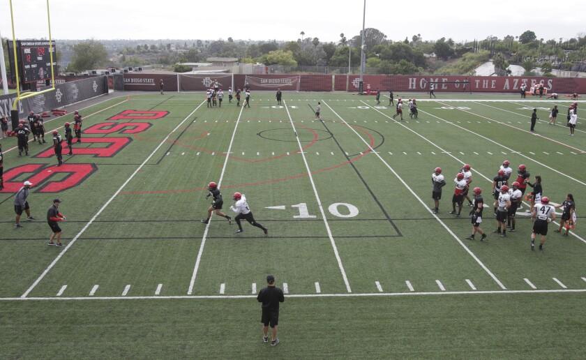 The Aztecs on the practice field at SDSU.