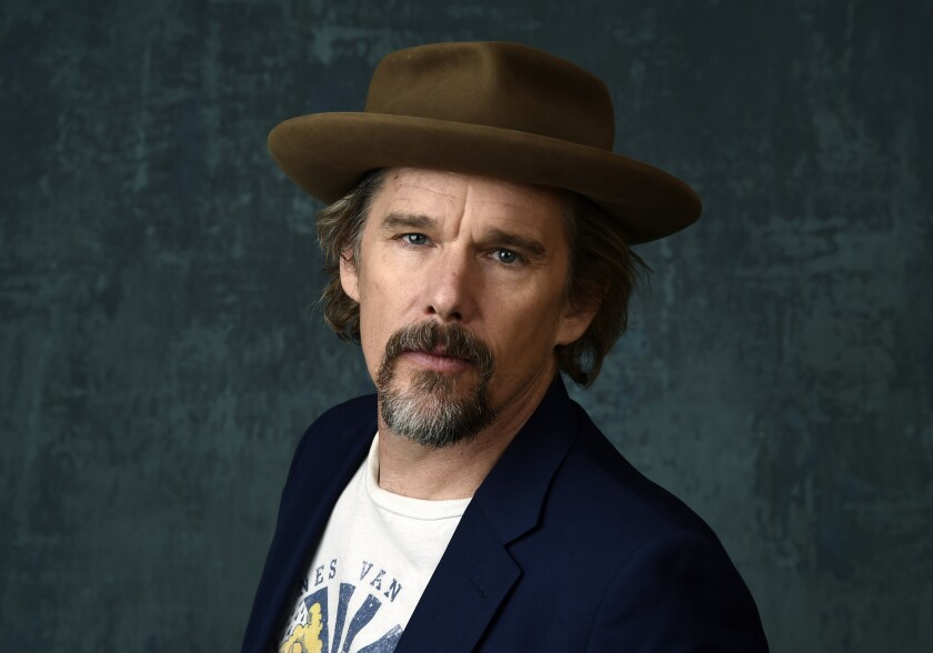 """FILE - Ethan Hawke poses for a portrait during the 2020 Winter Television Critics Association Press Tour in Pasadena, Calif., on Jan. 13, 2020. In an audiobook commissioned by the 92nd Street Y in Manhattan and airing online Oct. 19-29 Hawke inhabits the aging Rev. John Ames of Marilynne Robinson's acclaimed novel """"Gilead."""" (AP Photo/Chris Pizzello, File)"""