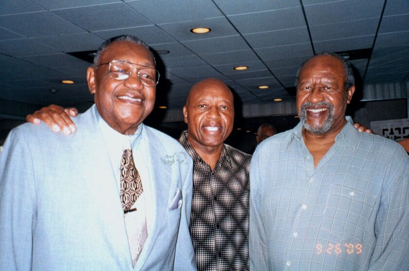 Art Powell (right), pictured here with brothers Charlie (left) and Jerry (center) in 2009, passed away Monday at the age of 78. He was a multi-sport star at San Diego High and City College who became one of the all-time American Football League greats as a pass receiver.