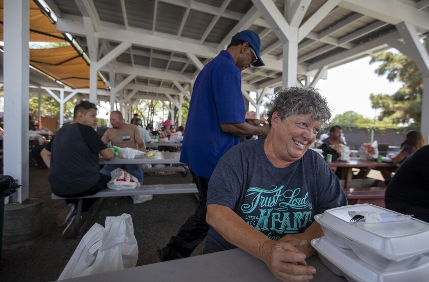 Starla Acosta, 65, has lunch at Mary's Kitchen in Orange on Tuesday, July 13.