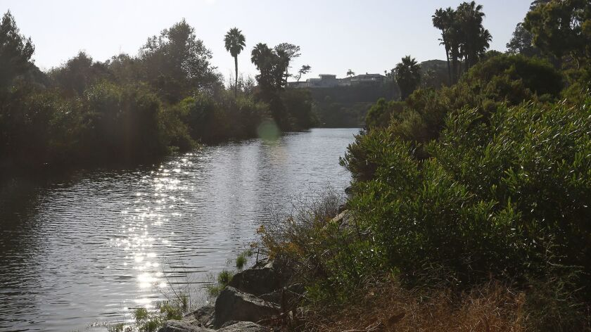 A view of Aliso Creek Estuary looking towards coast highway from The Ranch in Laguna Beach.