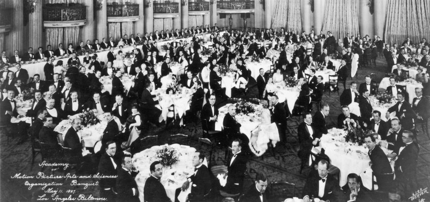 The Academy of Motion Picture Arts and Sciences, seen here at its first organizational meeting in 1927, remains largely white and male.