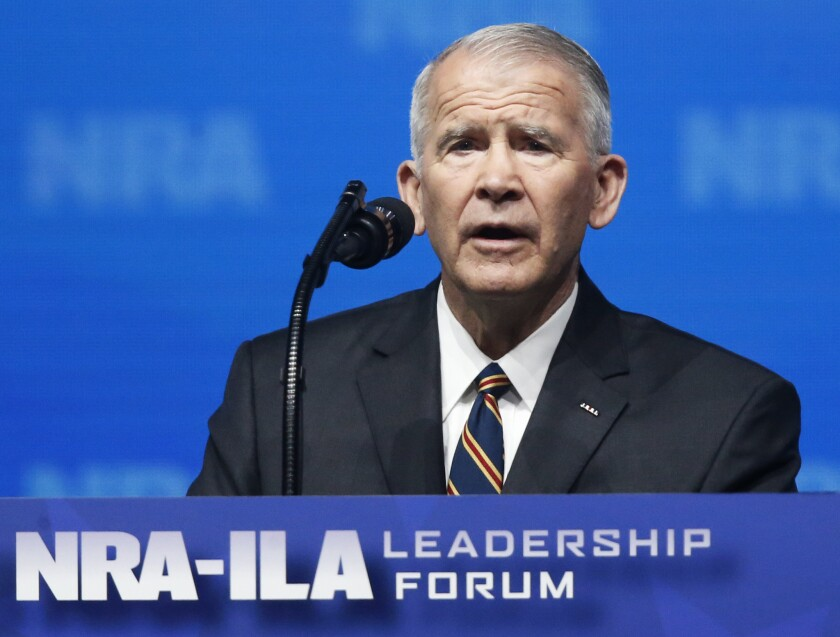 Oliver North, the NRA president, was supposed to speak at a rally in Noblesville, Indiana, Sunday.
