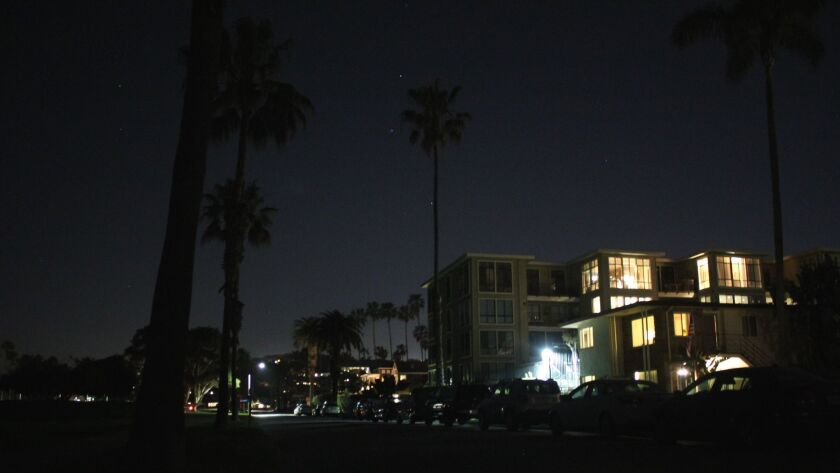 The Camino del Oro street in La Jolla Shores was in the dark on Wednesday, March 15. Lack of public lights on the east side of Kellogg Park and an outage in area street lights contribute to the darkness.