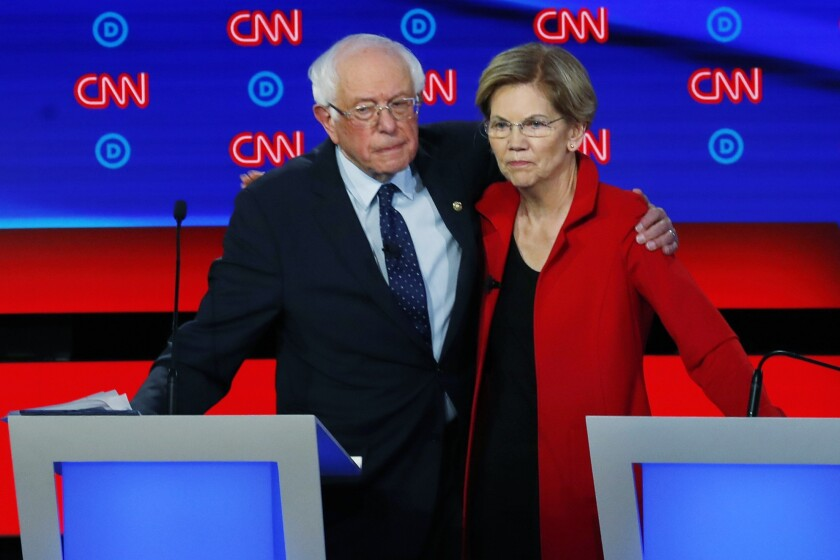 Sen. Bernie Sanders of Vermont and Sen. Elizabeth Warren of Massachusetts both want a huge overhaul of health care even though Democrats' more modest changes in 2010 led to a huge backlash in that fall's House elections.